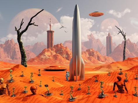 A 1950s Style Scene Showing a Rocketship On a Red Planet Photographic Print