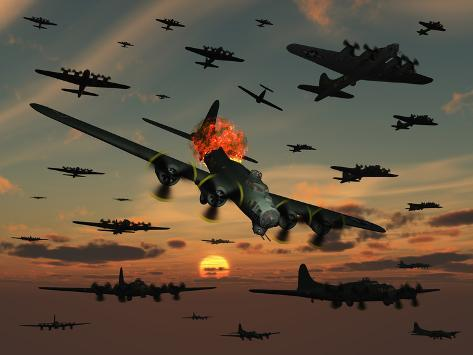 A B-17 Flying Fortress Is Set Ablaze by a German Interceptor Fighter Plane Stampa fotografica