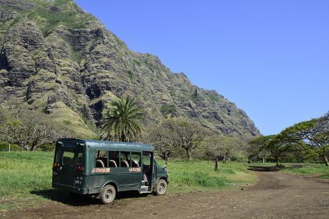 A Bus Parked on a Trail Along the Ko'Olau Range in Oahu, Hawaii Photographic Print