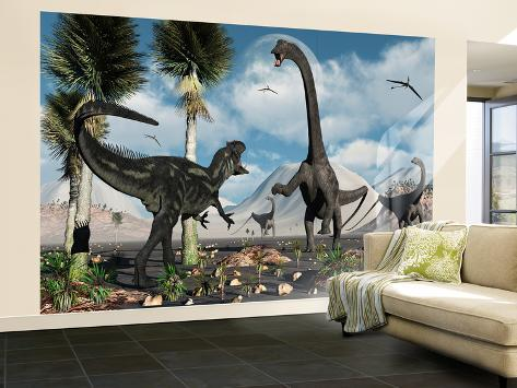 A Carnivorous Allosaurus Confronts a Giant Diplodocus Herbivore During the Jurassic Period on Earth Wall Mural – Large