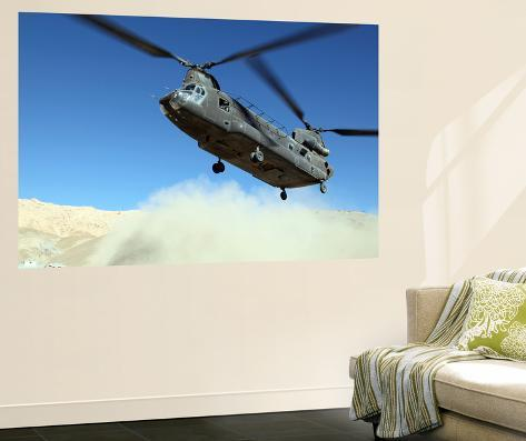 A Ch-47 Chinook Prepares to Land Giant Art Print