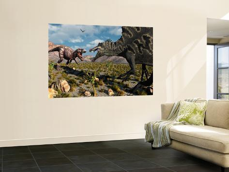 A Confrontation Between a T Rex and a Spinosaurus Dinosaur Wall