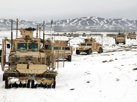 A Convoy of Vehicles During a Route Clearing Procedure in Afghanistan Photographic Print