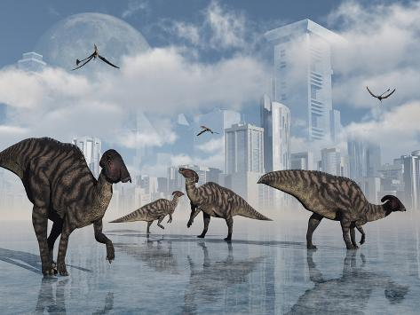 A Group Of Parasaurolophus Duckbill Dinosaurs Gather At A
