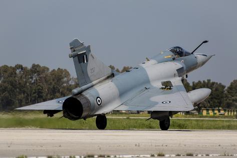 A Hellenic Air Force Mirage 2000 Egm Landing in Andravida, Greece Photographic Print