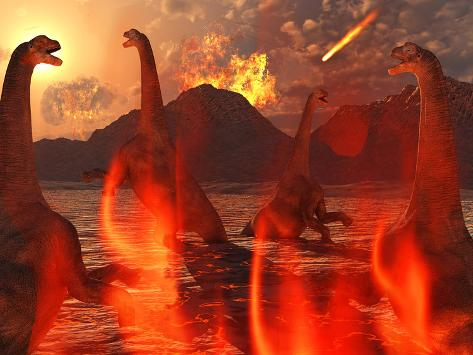 A Herd of Dinosaurs Struggle For Survival During the End of Time Photographic Print