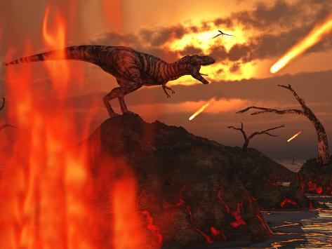 A Mighty T. Rex Roars As Fireballs Fall from the Sky Photographic Print
