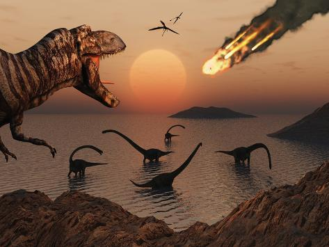 A Mighty T. Rex Roars from Overhead as a Giant Fireball Falls from the Sky Photographic Print