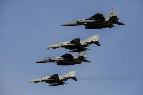 A Mixed Formation of U.S. Air Force F-15E Strike Eagle's and Hellenic Air Force F-4E Phantom'S Photographic Print