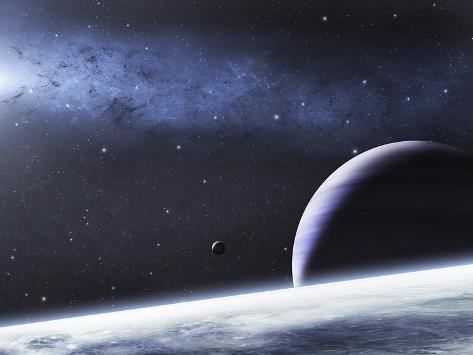 A Mysterious Light Illuminates a Small Nebula and Nearby Planets Photographic Print