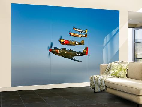 A P 36 Kingcobra Two Curtiss P 40N Warhawks and a P 51D Mustang in
