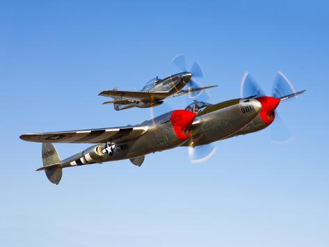 A P-38 Lightning and P-51D Mustang in Flight Photographic Print