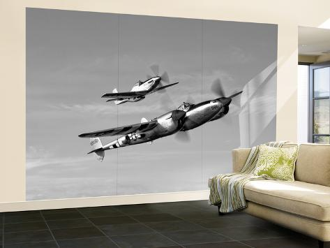 A P-38 Lightning and P-51D Mustang in Flight Wall Mural – Large