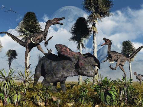 A Pair of Velociraptors Attack a Lone Protoceratops Photographic Print