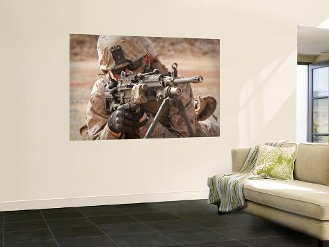A Squad Automatic Weapon Gunner Provides Security Wall Mural