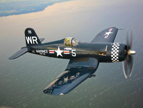 a vought f4u 5 corsair in flight photographic print by stocktrek
