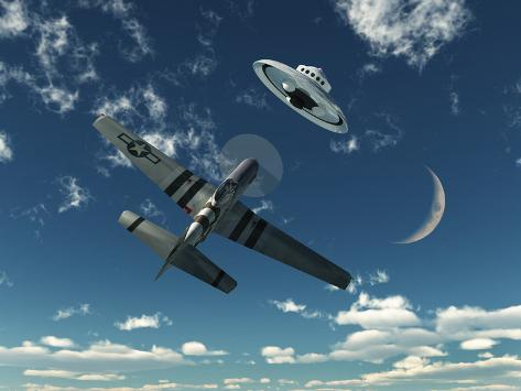 An American P-51 Mustang Gives Chase to a UFO Photographic Print