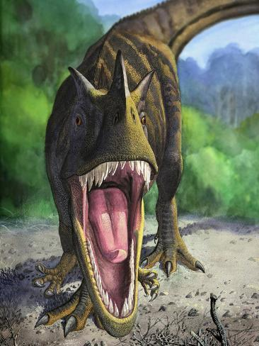 An Angry Ceratosaurus Dentisulcatus Dinosaur Shows Its Fierce Teeth Photographic Print