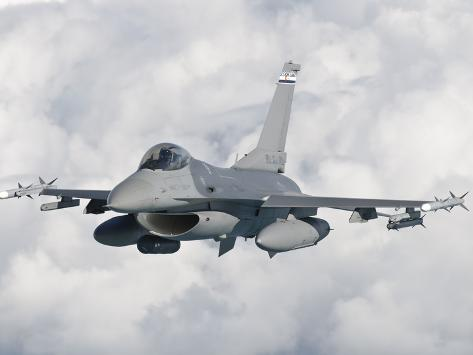 An F-16 from the Colorado Air National Guard in Flight over Brazil Photographic Print