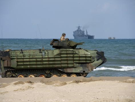 An U.S. Marine Corps Amphibious Assault Vehicle Arrives on Shore in Pohang, Republic of Korea Photographic Print