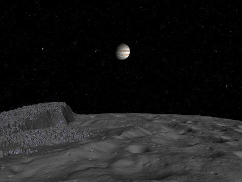 Artist's Concept of a View across the Surface of Themisto Towards Jupiter and its Moons Photographic Print