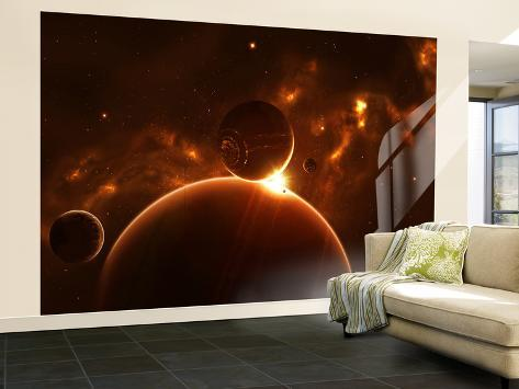 Artist's Concept of an Extraterrestrial World and its Various Moons Wall Mural – Large