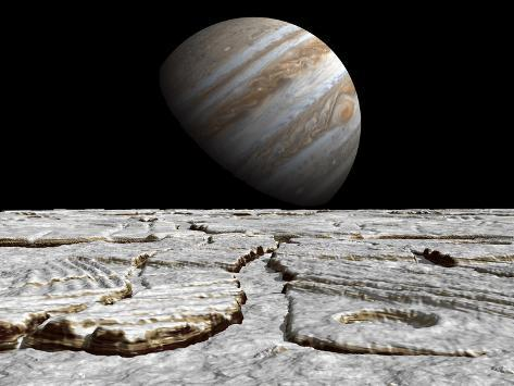Artist's Concept of Jupiter as Seen across the Icy Surface of its Moon Europa Photographic Print