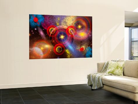 Artist's Concept of Planets and Stars Mixed Together in an Ever-Changing Nebula Wall Mural