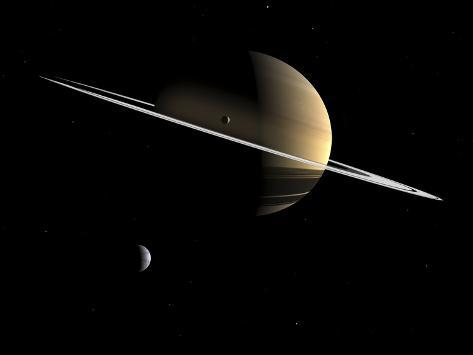 Artist's Concept of Saturn and its Moons Dione and Tethys Photographic Print