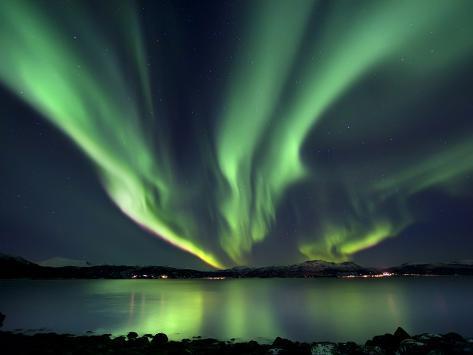 Aurora Borealis over Tjeldsundet in Troms County, Norway Photographic Print
