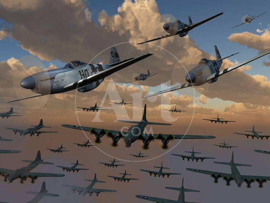 b 17 flying fortress bombers and p 51 mustangs in flight