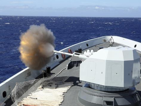 Chinese Navy Multi-Role Frigate Hengshui Fires its Main Gun Photographic Print