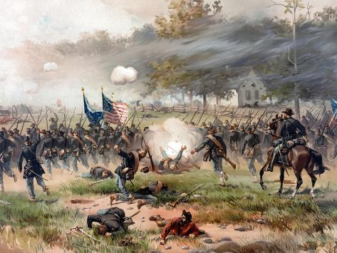 Civil War Painting of Union And Confederate Troops Fighting at the Battle of Antietam Photographic Print