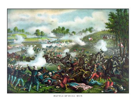 Civil War Painting of Union And Confederate Troops Fighting at the Battle of Bull Run Photographic Print