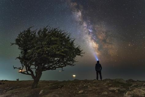 Explorer Looking at the Milky Way from the Coast of the Black Sea Photographic Print
