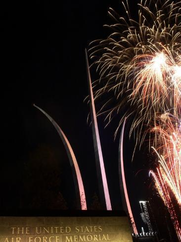 Fireworks Light up the Air Force Memorial Photographic Print