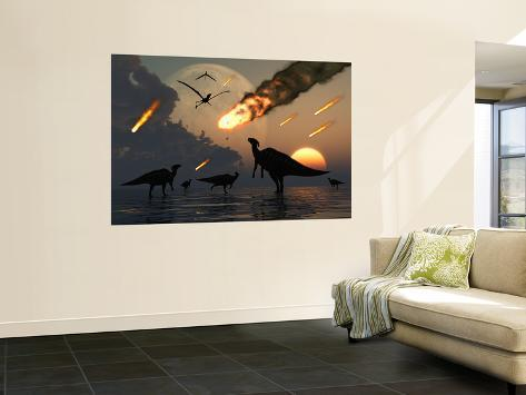 Hadrosaurs Graze Peacefully as Burning Meteors Fall Through the Sky Wall Mural