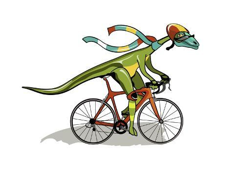 Illustration of An Anabisetia Dinosaur Riding a Bicycle Photographic Print