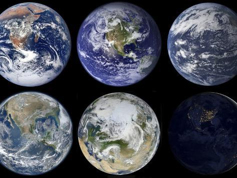 Image Comparison of Iconic Views of Planet Earth Photographic Print