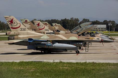 Israeli Air Force F-16`S of Three Different Squadrons Photographic Print