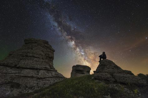 Man Sits on Top of Demerdzhi Mountain under the Milky Way at Night Photographic Print