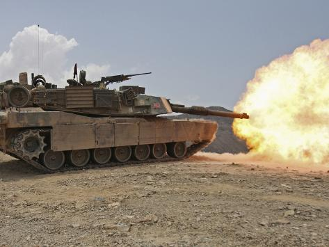 Marines Bombard Through a Live Fire Range Using M1A1 Abrams Tanks Photographic Print