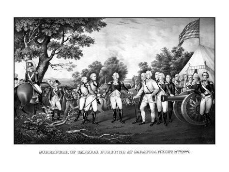 Revolutionary War Print Showing the Surrender of British General John Burgoyne at Saratoga Photographic Print