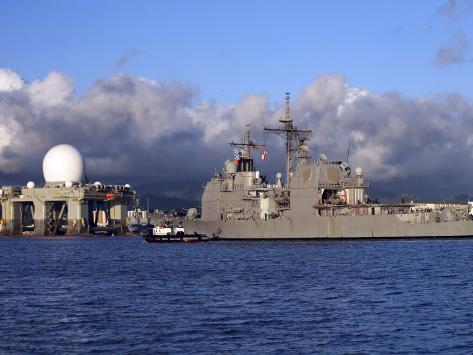 Sea Based X-Band Radar Dome Modeled by the Setting Sun at Pearl Harbor Naval Shipyard Photographic Print