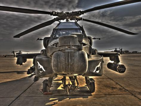 Seven Exposure HDR Image of an AH-64D Apache Helicopter as it Sits on its Pad Photographic Print