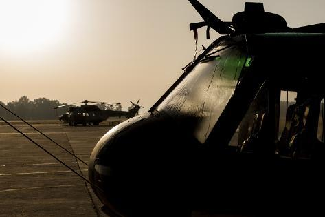 Silhouette of Hellenic Air Force Search and Rescue Helicopters Photographic Print