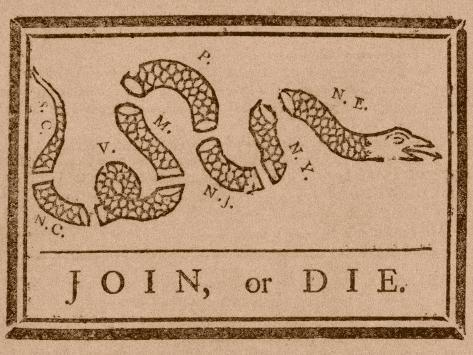 The Join Or Die Print Was a Political Cartoon Created by Benjamin Franklin Photographic Print