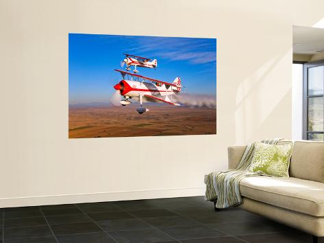 Two Pitts Model 12 Aircraft in Flight Wall Mural