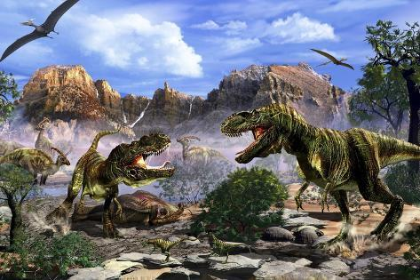 two t rex dinosaurs fighting over a dead carcass prints by stocktrek