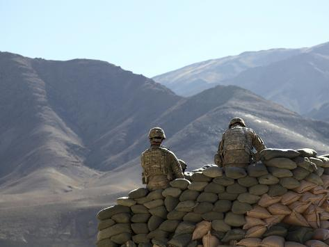 U.S. Army Soldiers Run Communications Equipment from a Sandbag Bunker in Afghanistan Photographic Print